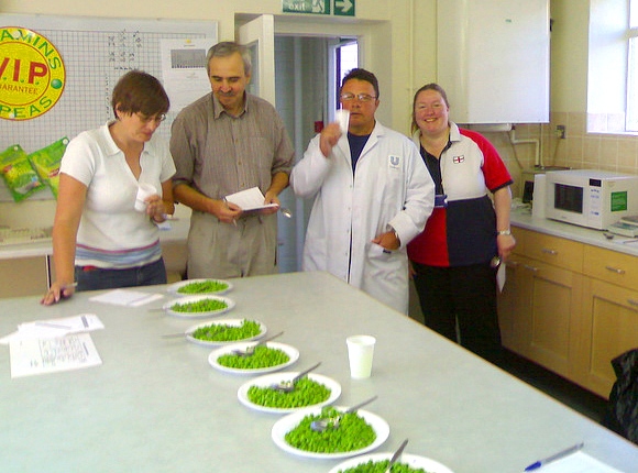 Pea tasting in Hull with Colin